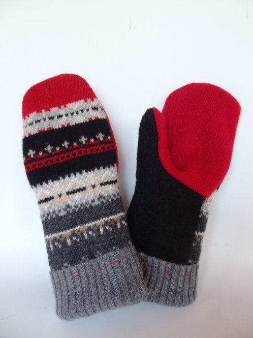 Women's recycled - repurposed wool mittens: 1 available; black/red/gray