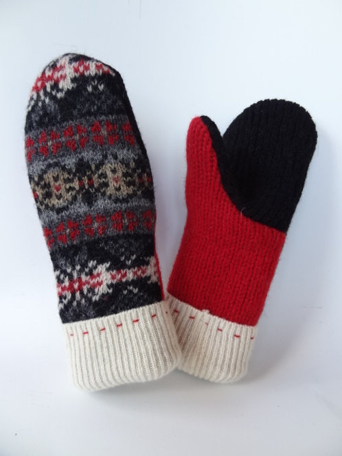 Children's recycled - repurposed wool mittens: 1 available; black/red/white