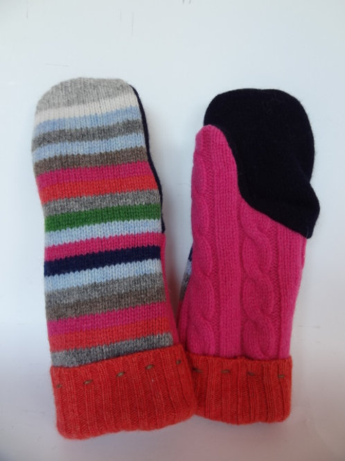 Women's recycled - repurposed wool mittens: 1 available; pink/blue/orange/multi