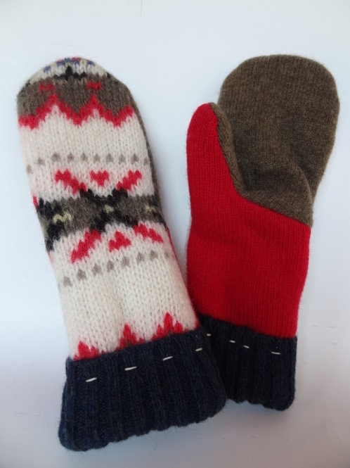 Women's Recycled Wool Mittens - Front & Back, White+Pattern/Red/Brown, Thankful Thimble
