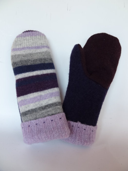 Women's recycled - repurposed wool mittens: 1 available; purple/navy blue/gray