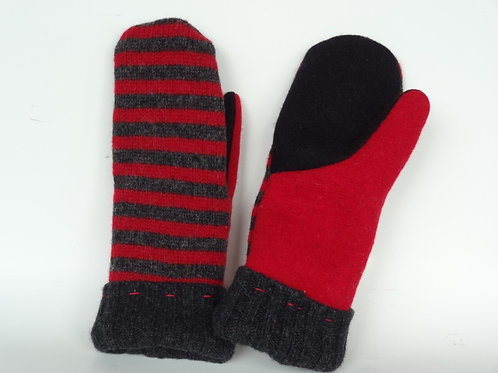 Women's recycled - repurposed wool mittens: 1 available; red/black/gray