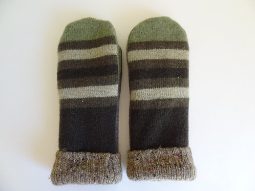 Men's recycled - repurposed wool mittens: 1 available; green/brown/tan
