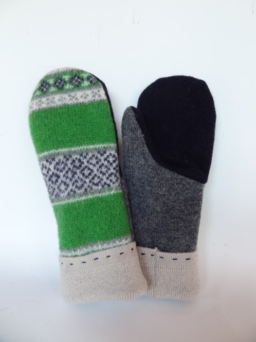 Women's recycled - repurposed wool mittens: 1 available; blue/gray/green