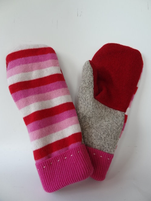 Women's Generous recycled - repurposed wool mittens: 1 available; red/pink/tan