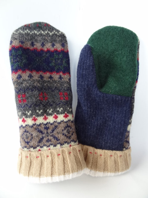 Men's recycled - repurposed wool mittens: 1 available; tan/green/blue