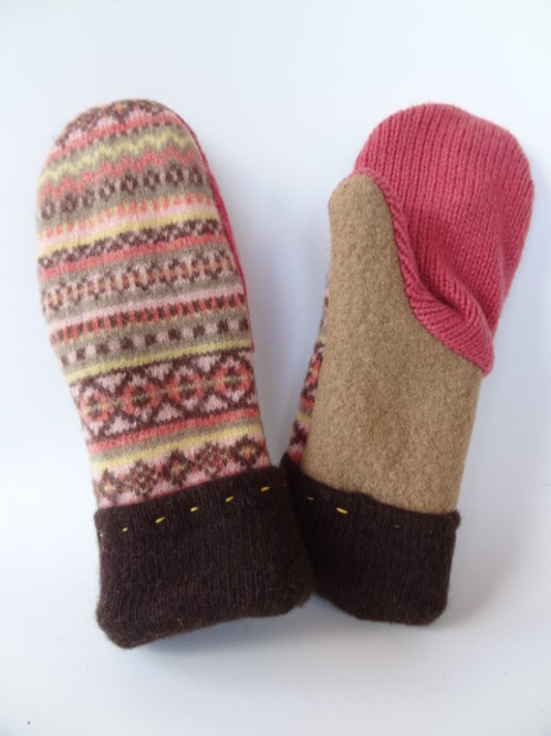 Children's recycled - repurposed wool mittens: 1 available; salmon/brown/tan