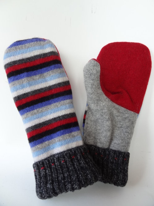 Women's Generous recycled - repurposed wool mittens: 1 available; red/gray