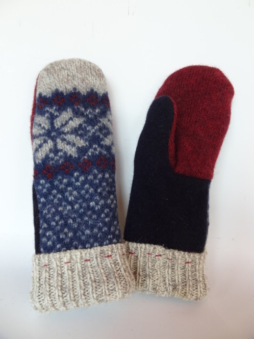 Women's recycled - repurposed wool mittens: 1 available; blue/red/tan
