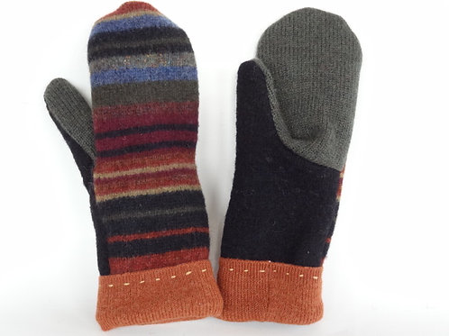 Women's recycled - repurposed wool mittens: 1 available; green/black/orange