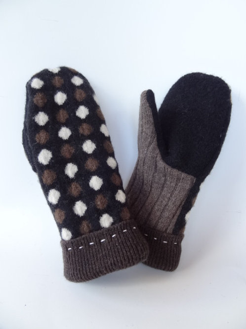 Children's recycled - repurposed wool mittens: 1 available; brown/black/white