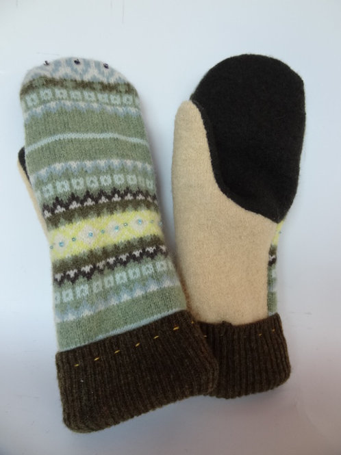 Women's recycled - repurposed wool mittens: 1 available; tan/green/brown