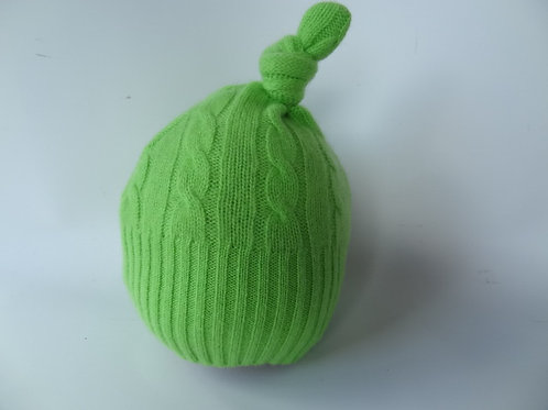 Ultra soft recycled - repurposed cashmere baby hat: 1 available; lime green