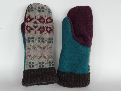 Women's recycled - repurposed wool mittens: 1 available; burgundy/green/tan