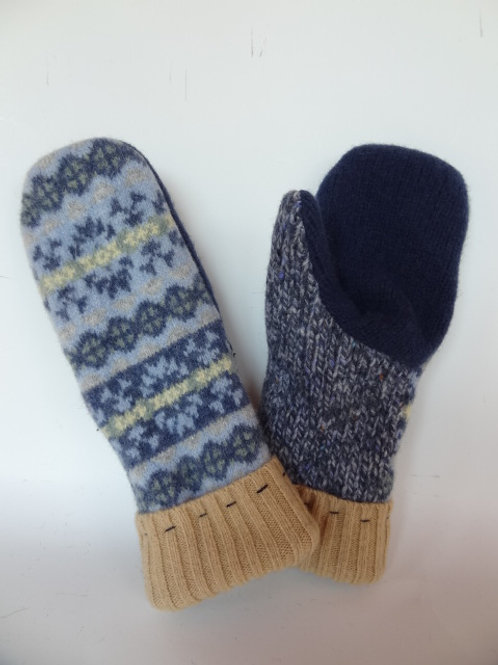 Women's recycled - repurposed wool mittens: 1 available; blue/navy/tan