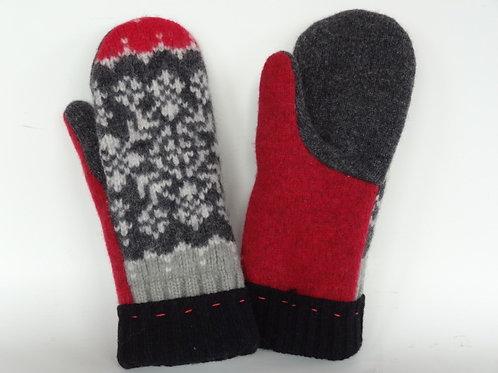 Women's recycled - repurposed wool mittens: 1 available; red/gray/white