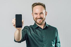 Buy this phone. Portrait of cheerful att