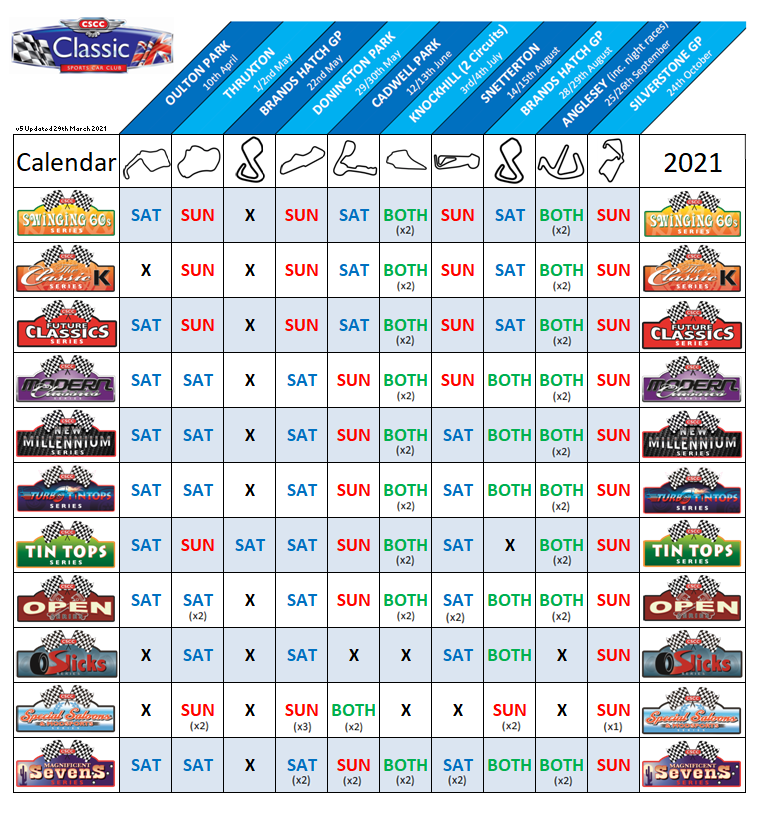 Calendar dates and days Updated 29th Mar