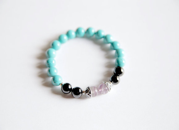 Black Onyx, Fluorite & Turquoise Sterling Silver Bracelet