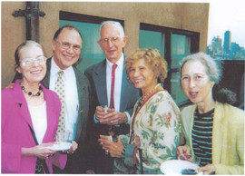 Celebration for Warren Bryan on May 20 2004. Left to right. Charlotte Parsons, Bill Bechman, Frank Patton, Rose Patton. Jane Levenson.