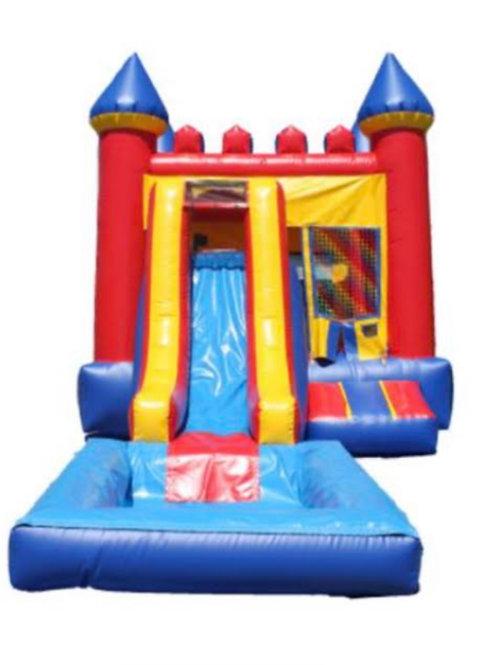 Castle bounce house dry slide combo