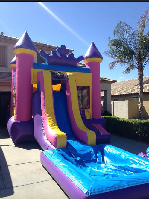 Princess bounce house combo dry slide