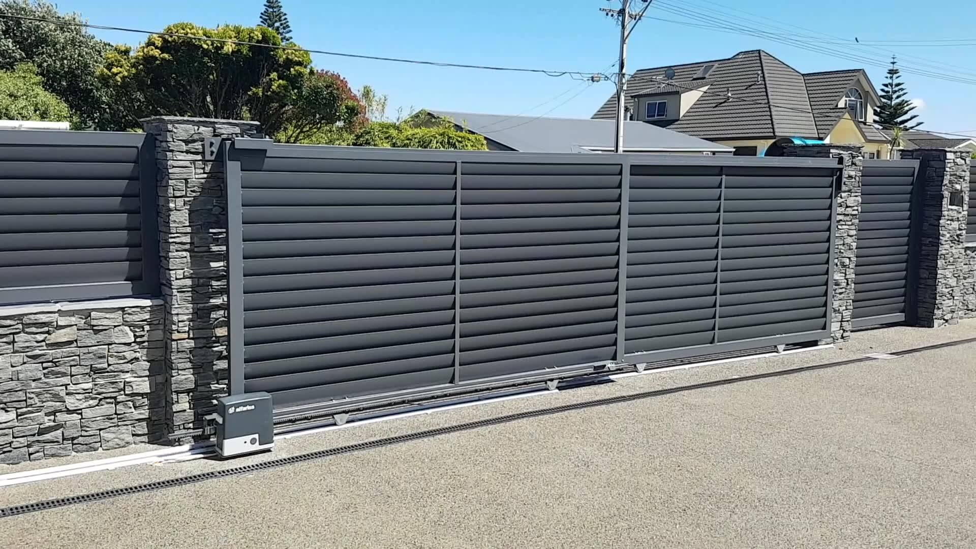 """Here we have a """"V2 Alfariss"""" motor operating a telescopic gate. Perfect for when you have a large opening size but not the room to open a traditional sliding gate back to. Courtesy of Quarter Acre Gates."""