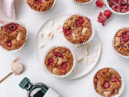Vegan & GF Raspberry White Choc Muffins