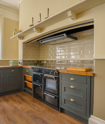 Cook's suite, Victorian kitchen, range cooker, range cooker in inglenook, inframe kitchen, #diykitchens