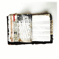 untitled book of labours_ page 1_mixed media, book fragments_10 x 6