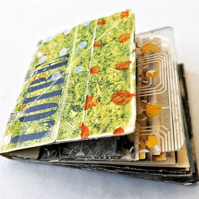 - LOIRE -_mixed media, mini-collage book_3.5 x 4 x 1