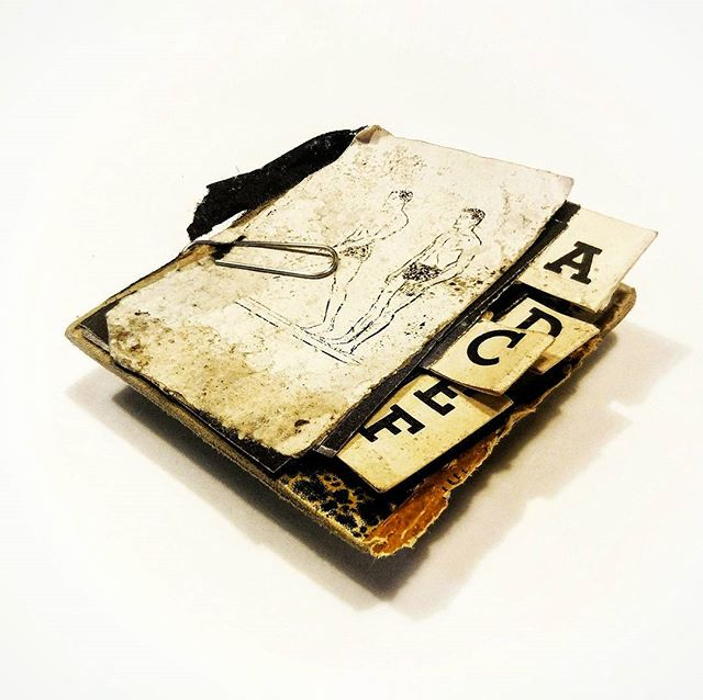 untitled minibook_mixed media, book cover fragments_2.5 x 3