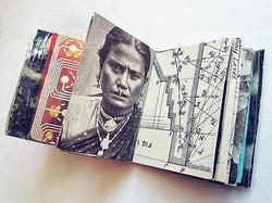 LOIRE _  interior _mixed media, mini-collage book_3.5 x 4 x 1