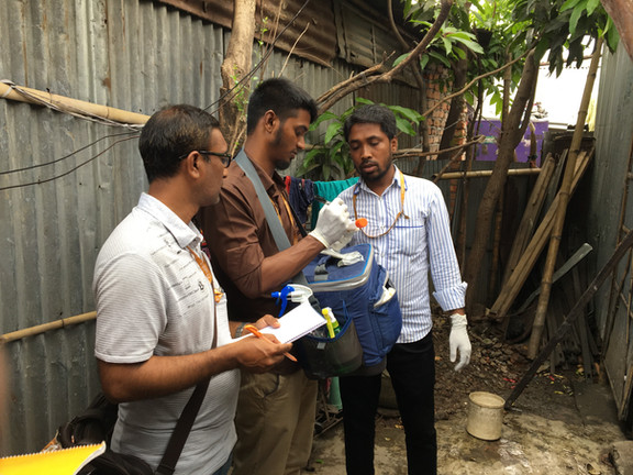 Field staff in Dhaka labeling samples before they are taken to the laboratory.