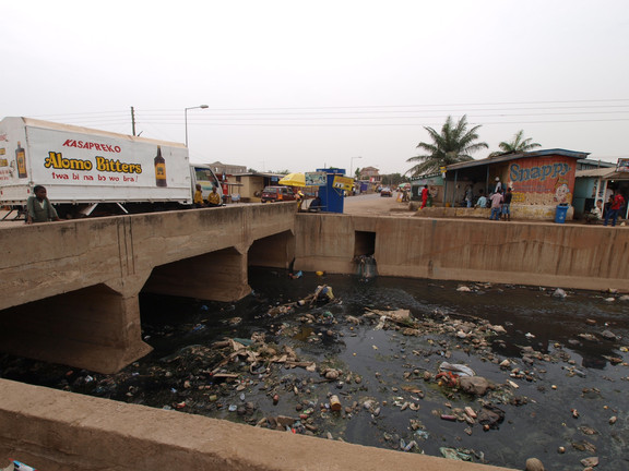Trash in open drains is a major problem in Accra.
