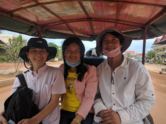 The excited staff in Siem Reap head to the field for training.