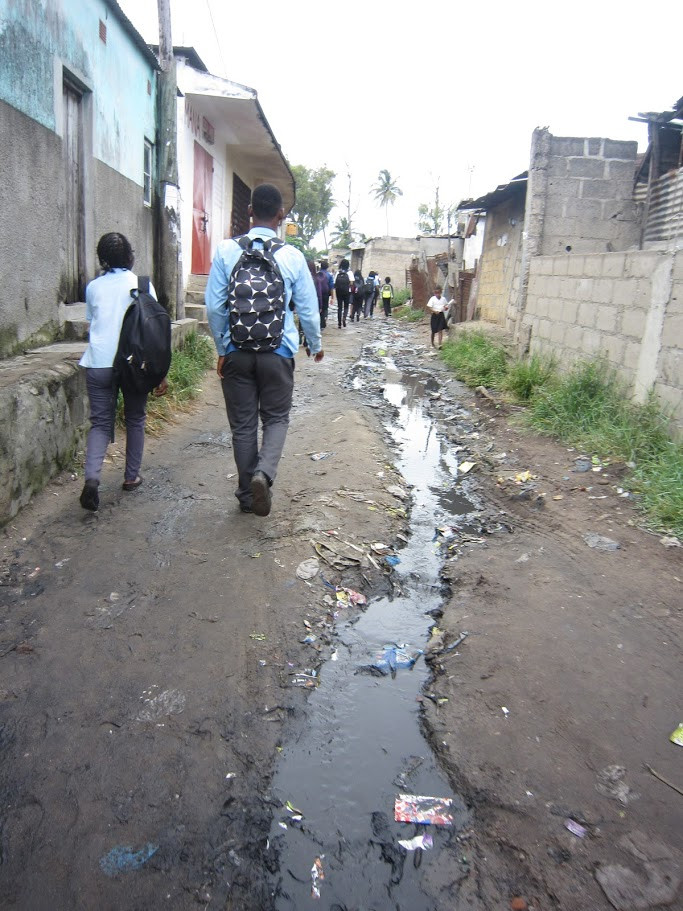 Open drains like these ones are common in Maputo and are often used to convey fecal sludge and wastewater.