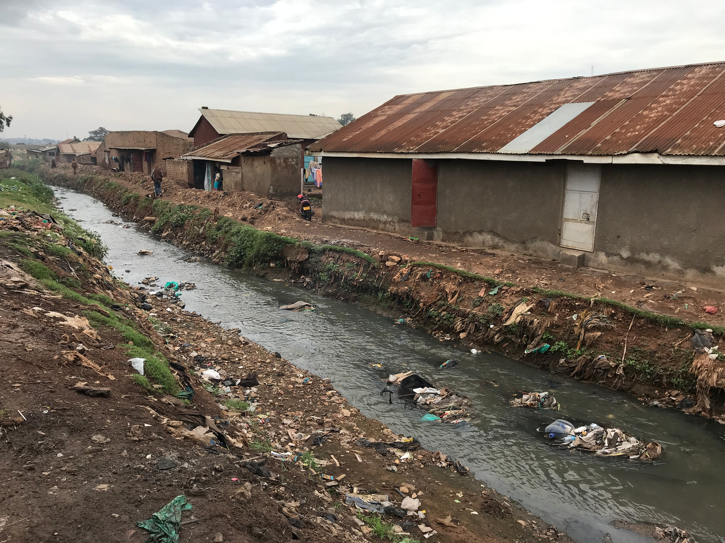 A polluted stream near housing in Kampala. Samples are collected from streams like these and tested for E. coli to measure fecal contamination.