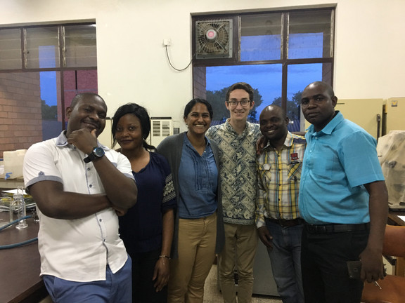 SaniPath team members, Suraja Raj and Casey Siesel, join the staff in Lusaka for key training sessions.