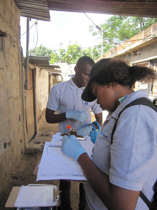 The field team keep track of samples collected each day by recording information such as the ID, time, place, and type of each sample sample.