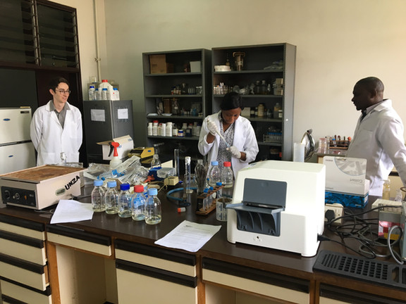 SaniPath team member, Casey Siesel, joins for the team in Lusaka for laboratory training.