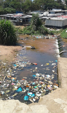 Polluted surface water like this stream in Durban are sampled and analyzed for fecal contamination.