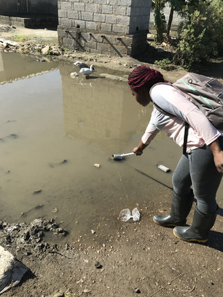 A sample of flood water is taken by field staff in Lusaka. The staff member is careful not to step around the sample which could cause excess sediment to cloud the sample.