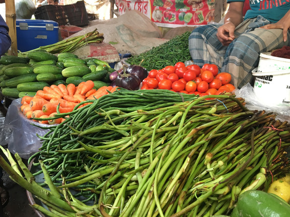 Produce is often irrigated with wastewater and therefore is often contaminated with fecal matter. Here you can see a produce at a market where the SaniPath team will collect samples.