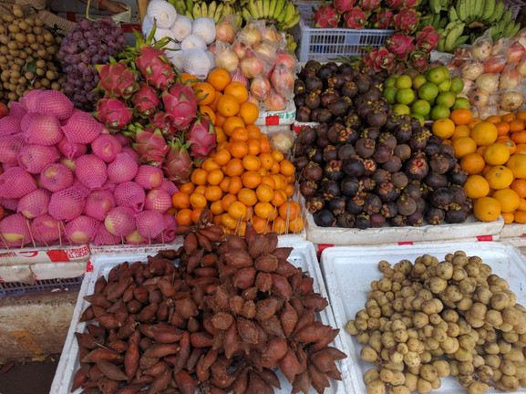 Colorful produce at a market in Siem Reap where fresh samples will be collected for testing.