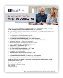 Private Client Group When to Contact Us