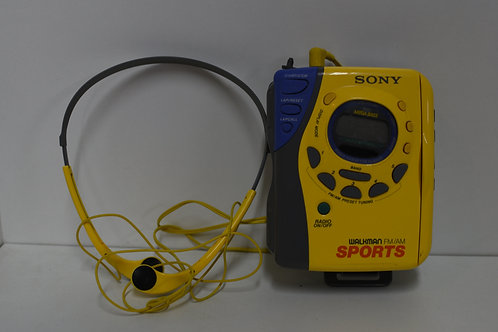 SONY SPORTS WALKMAN W/HEADPHONES - YELLOW