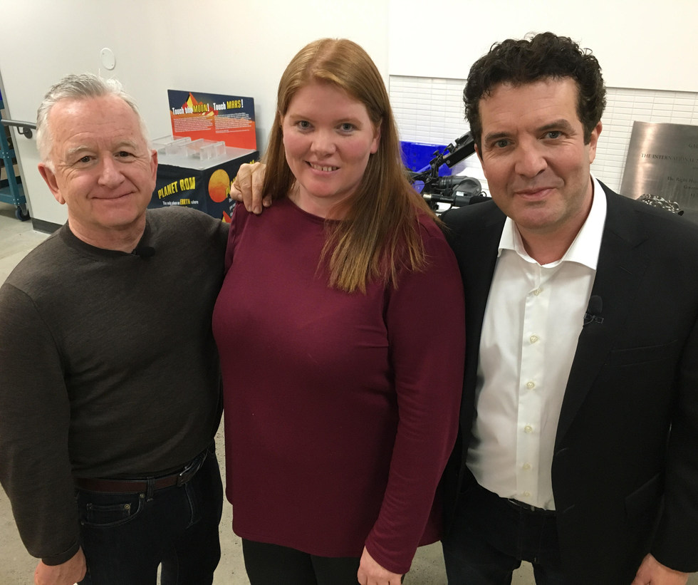 Dr. Kim Tait with Ron James (left) and Rick Mercer (right)