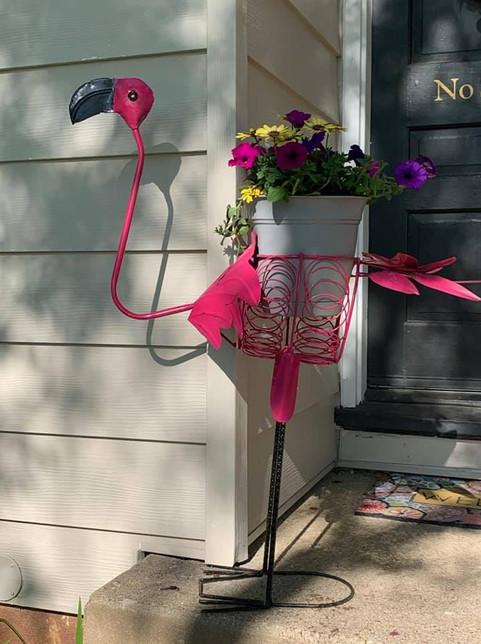Lg Flamingo planter