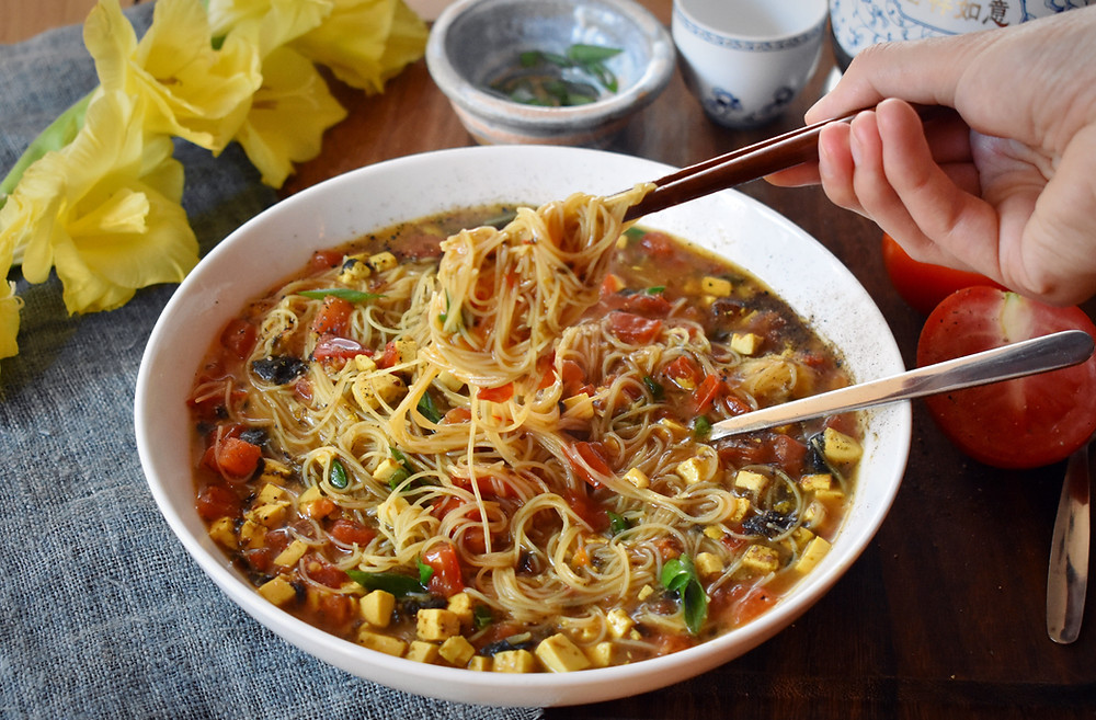 Low FODMAP Vegan recipe for chinese noodle soup